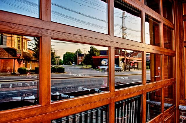 Plehn's Bakery and Jimmy John's Deli Reflected in 60 West Windows in St. Matthews.