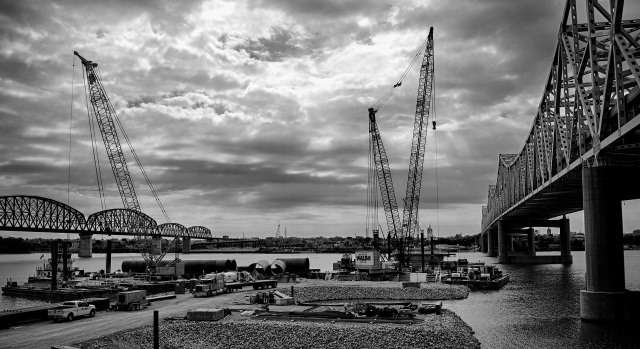Construction Cranes on the Indiana Side of the Ohio River Bridges Project Downtown Crossing B&W Version