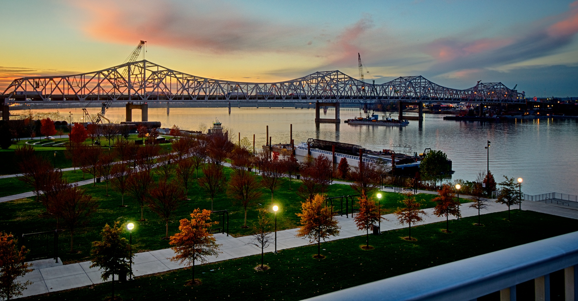 Ohio River Bridges Project at Sunset