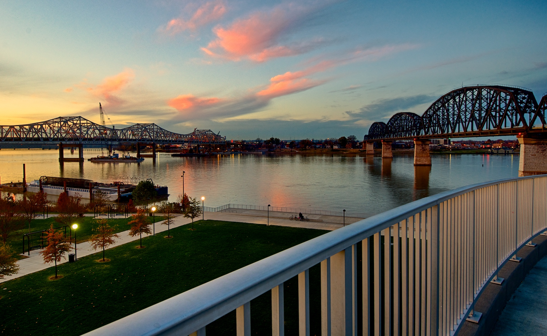 Ohio River Bridges Project at Sunset #2