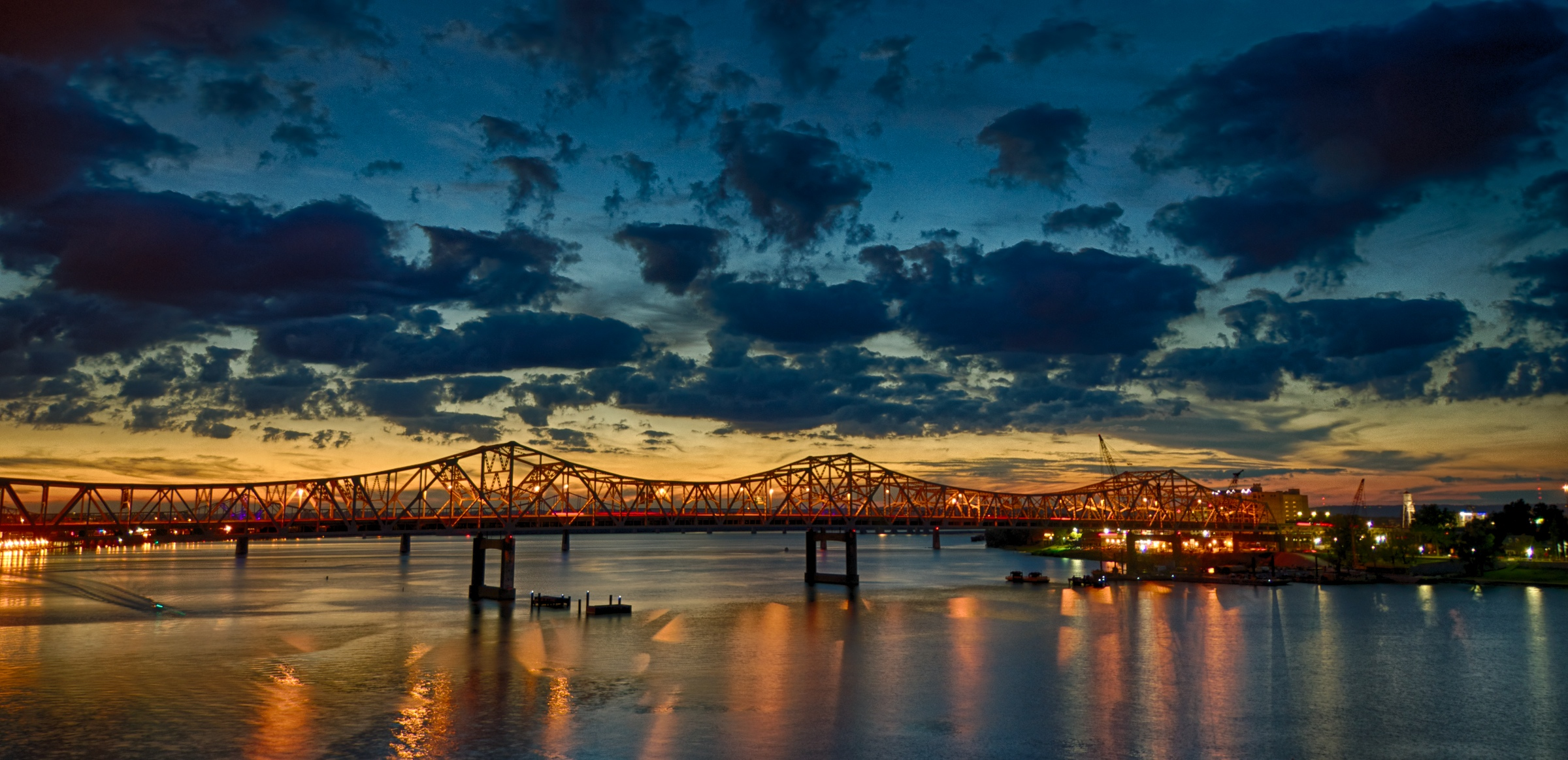 The Sun Sets On The New Bridge Site in Louisville KY